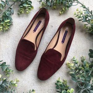 Ralph Lauren Purple Label Suede Maroon Loafers
